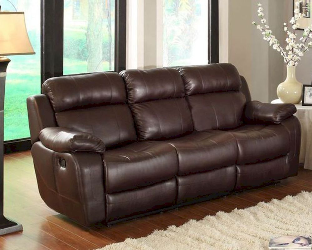Brown Finish Double Reclining Sofa Marille By Homelegance