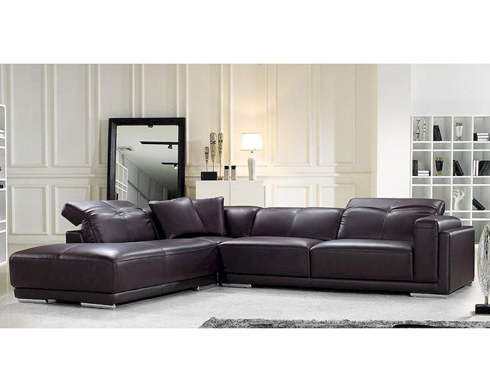 Brown leather sectional sofa in contemporary style 44l5981 for Contemporary sectional sofas