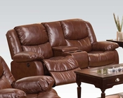 Brown Loveseat w/ Console Fullerton by Acme Furniture AC50204