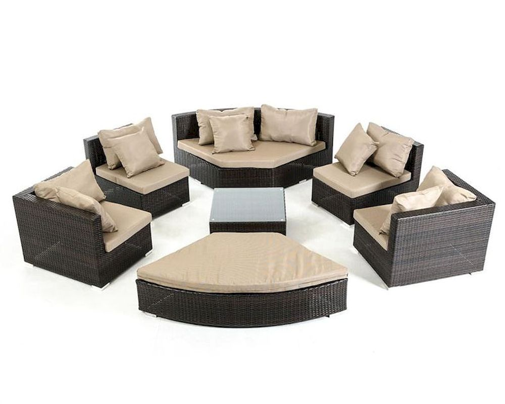 Brown white outdoor sectional sofa set 44p215 set for Sectional sofa set