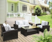Carmel Outdoor Sofa Set in Brown White by Modway MY-EEI616BW