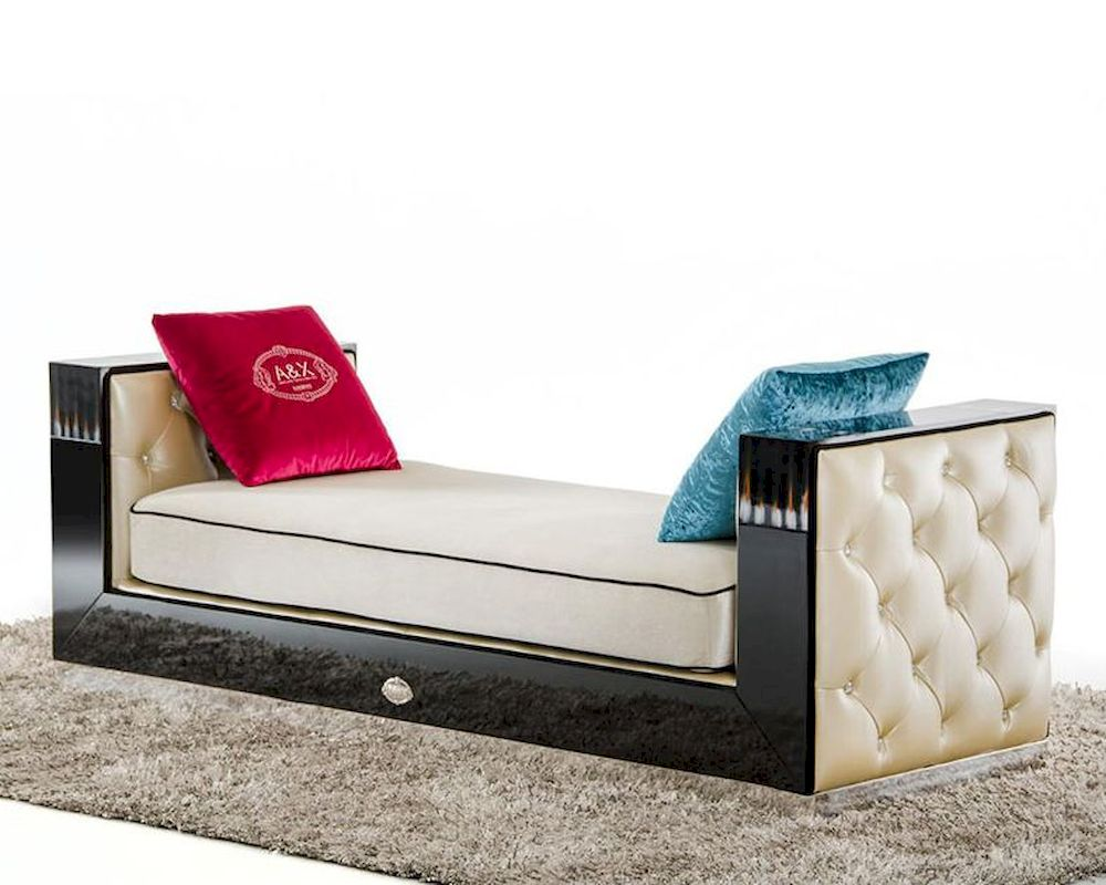 chaise in transitional black crocodile and beige fabric 44l006. Black Bedroom Furniture Sets. Home Design Ideas