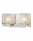 ELK Chiseled Glass Collection 2 light bath in Polished Chrome EK-11621-2