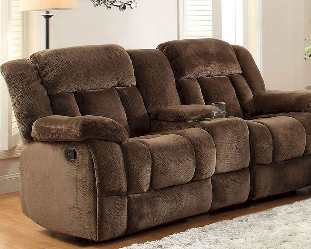 Chocolate Double Glider Reclining Loveseat Laurelton By
