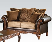 Chocolate Finish Loveseat w/ 5 Pillows Fairfax by Acme AC50341
