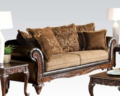 Chocolate Finish Sofa w/ 6 Pillows Fairfax by Acme Furniture AC50340