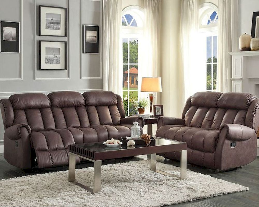 Chocolate Reclining Sofa Set Mankato By Homelegance El