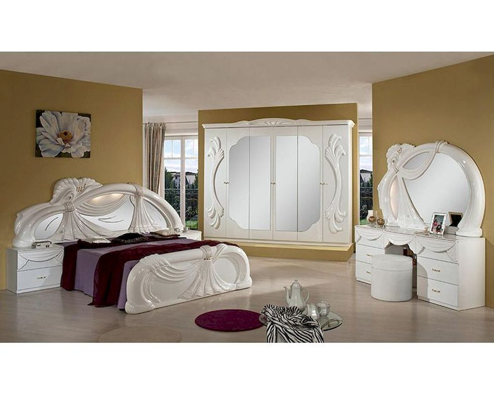 Classic bedroom set in white finish made in italy 44b001set for Classic white bedroom