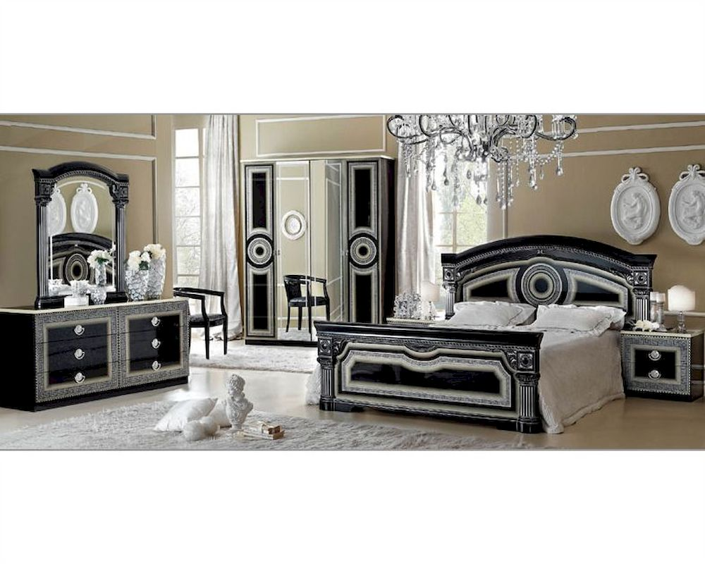 Classic bedroom set made in italy aida 3313ad for Italian bedroom furniture