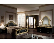 Classic Bedroom Set Made in Italy, Black and Gold Finish 44B1811BLGD