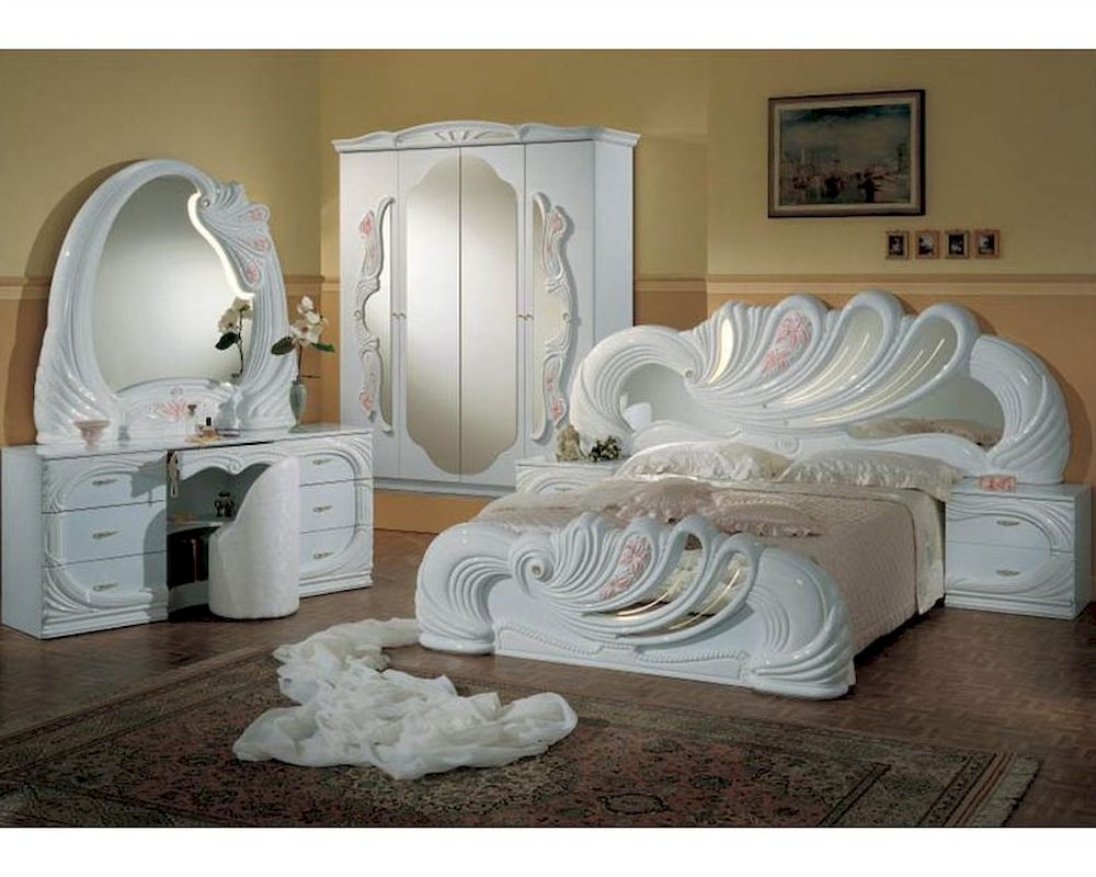 Clic Bedroom Set Made In Italy White Finish 44b8411w