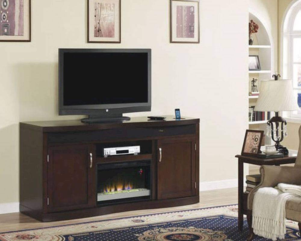 Sterling 56 inch tv stand with electric fireplace walnut 23im0468 w502 - Classic Flame Fireplace Tv Console W Fridge Endzone Ts 26tf8299 E451