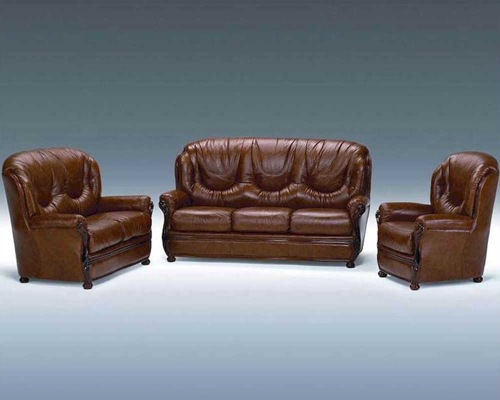 Classic italian leather sofa set 44ldls for Leather sofa set