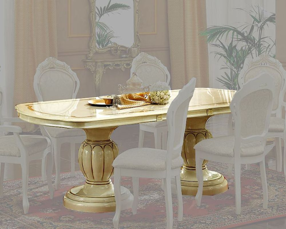 Classic Pedestal Dining Table In Ivory Finish Made Italy 33D22