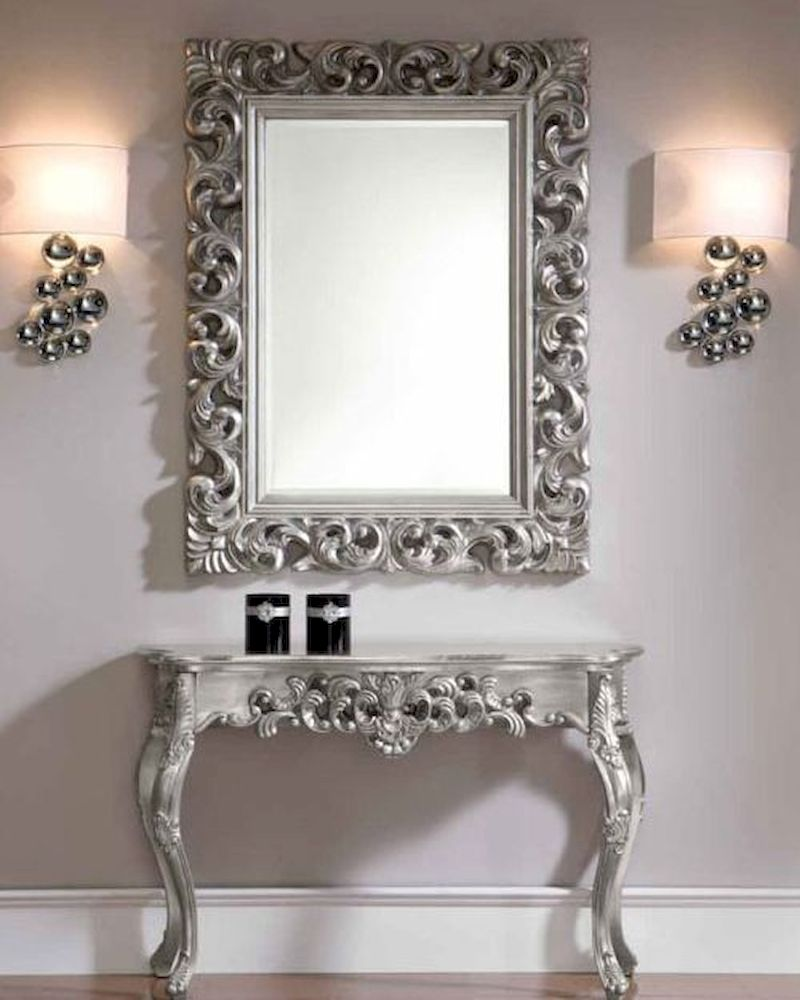 & Classic Style Console Table and Mirror Set in Silver 33C31