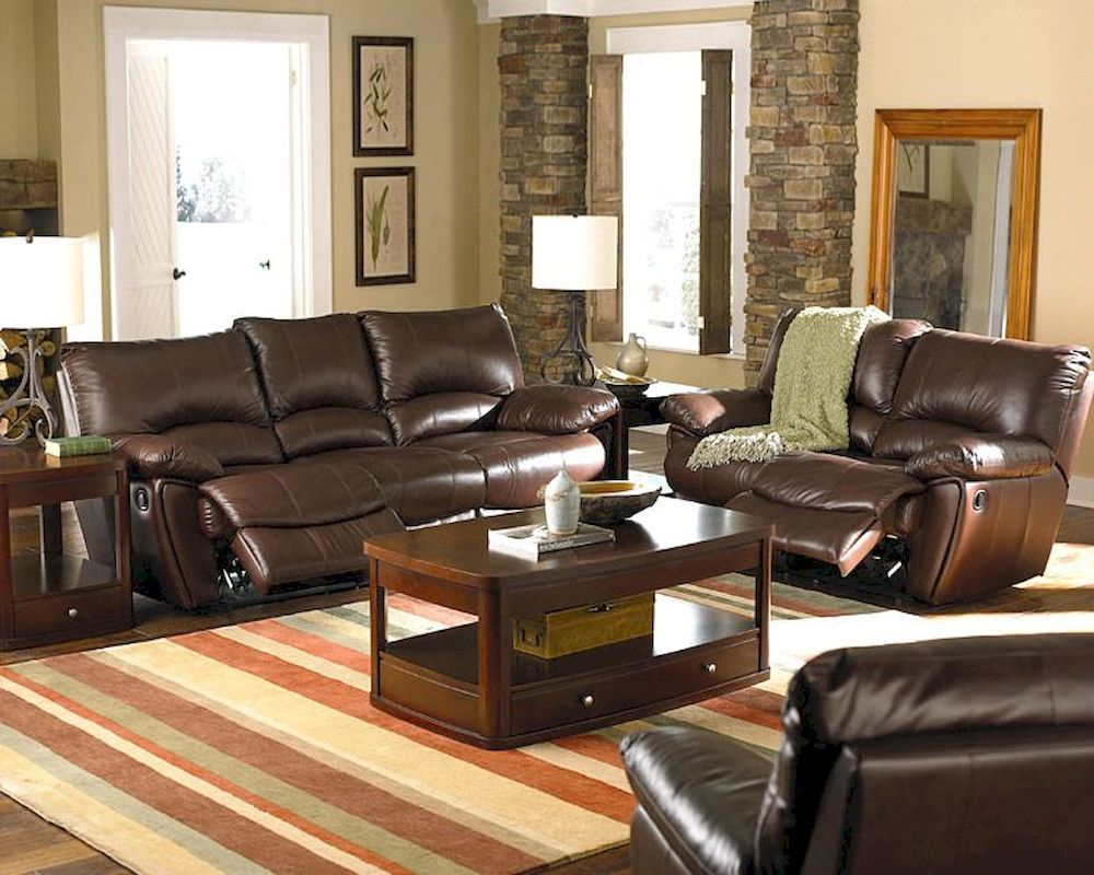 Incredible Clifford Brown Leather Double Reclining Sofa Set Co60028 Dailytribune Chair Design For Home Dailytribuneorg