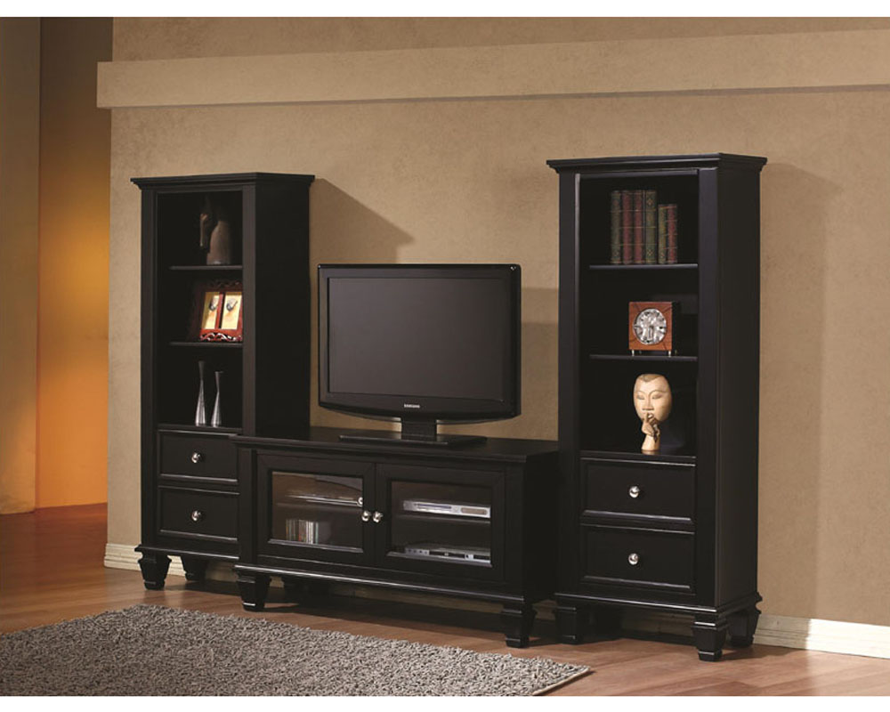 Black Entertainment Center Wall Unit coaster black entertainment wall unit co-702250-1set