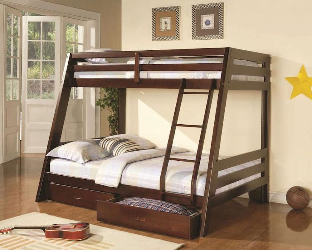 Coaster Bunks Twin Over Full Bunk Bed W Two Storage