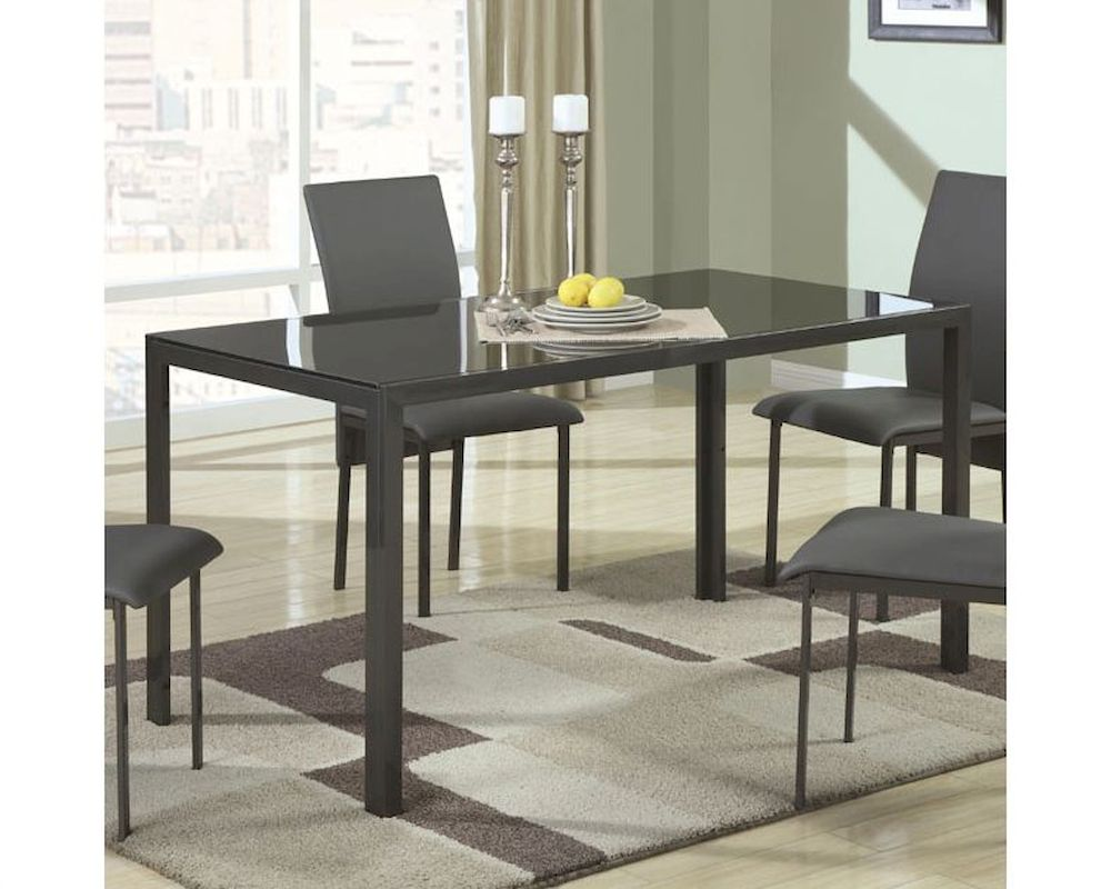Coaster contemporary metal dining table w glass top co 103741 for Glass top dining table next