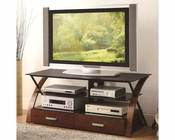 Coaster Contemporary TV Console w/ Black Glass CO-700770-1