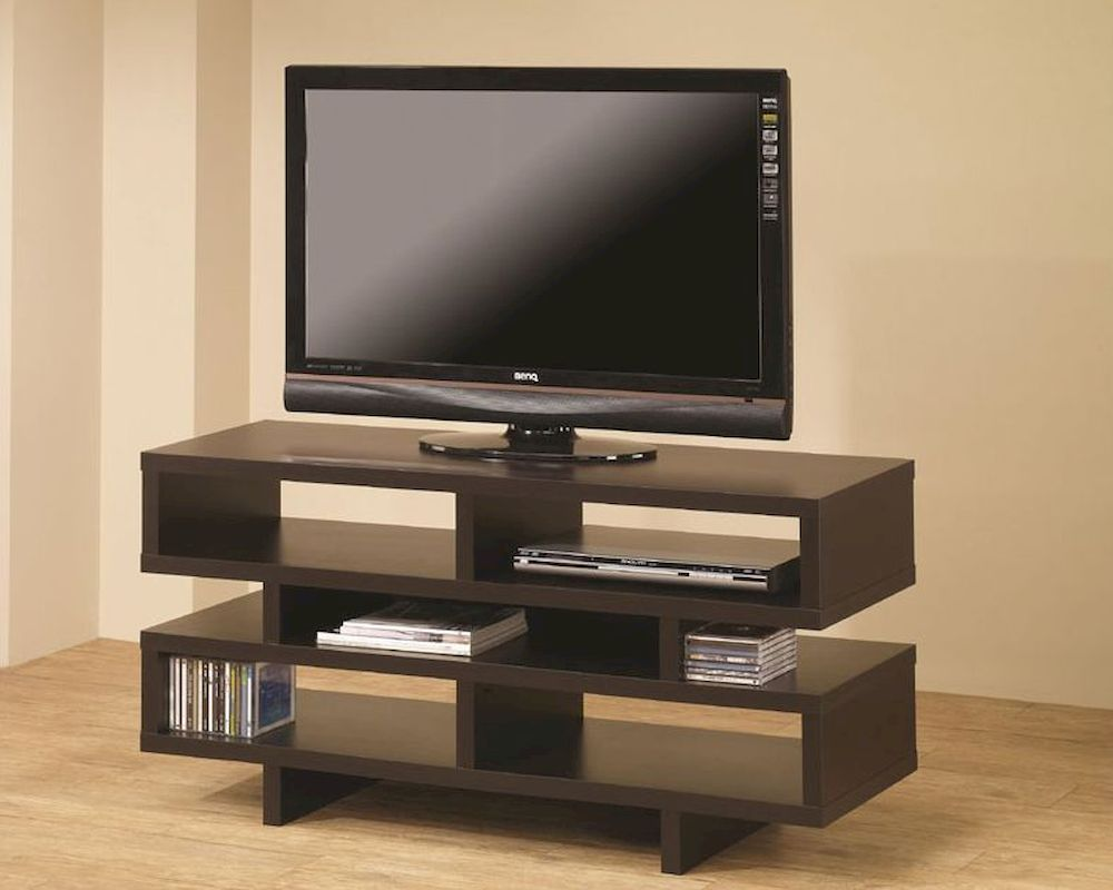 Coaster contemporary tv console w open storage co 700720 1 for Tv console with storage