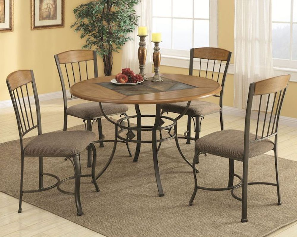 Coaster Dining Table Set W Metal Legs And Wood Top Co