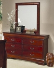 Coaster Louis Philippe Dresser w/ Mirror in Cherry CO-200433-34