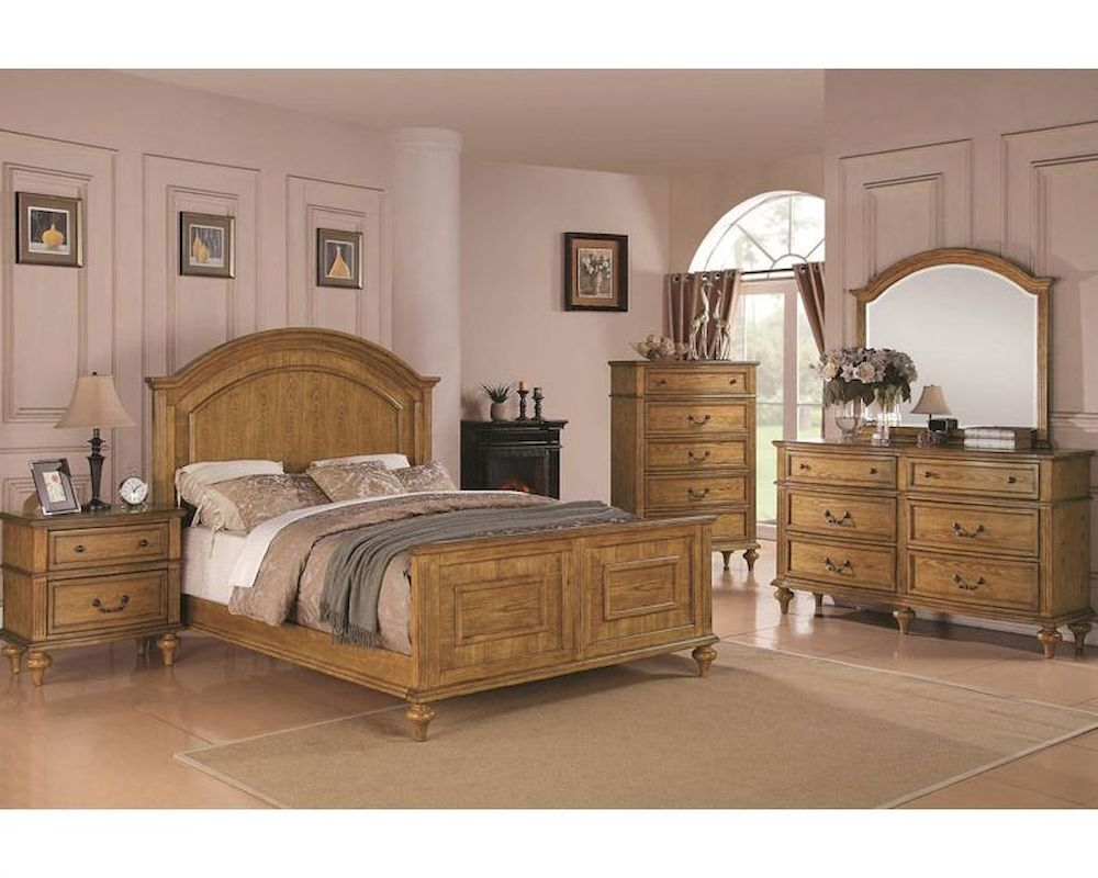 Coaster emily bedroom set in light oak co 202571set for Oak bedroom sets
