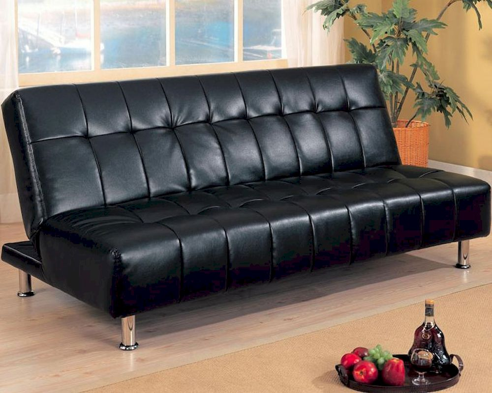 coaster furniture armless convertible sofa bed in black co300118