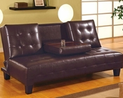 Coaster Furniture Armless Convertible Sofa Bed in Dark Brown CO300153