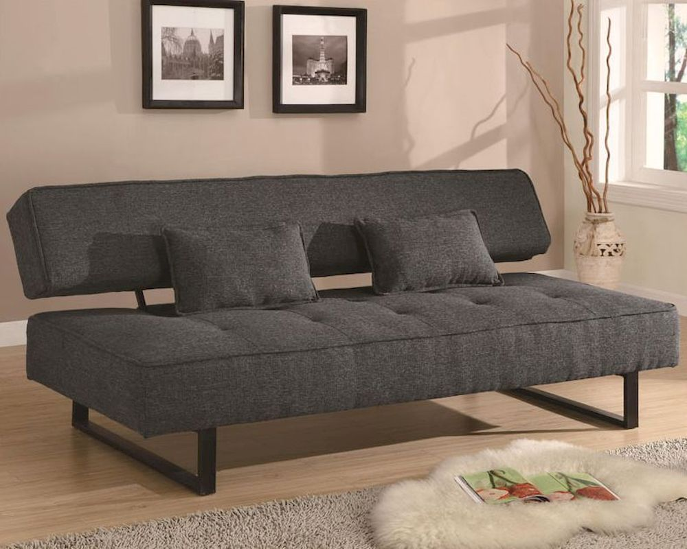 Furniture Contemporary Armless Sofa Bed in Grey CO
