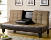 Coaster Furniture Convertible Sofa Bed in Tan and Dark Brown CO300237