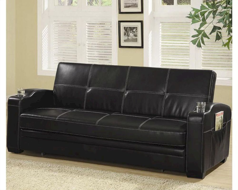 Coaster furniture sofa bed with cup holders in black co300132 Loveseat with cup holders