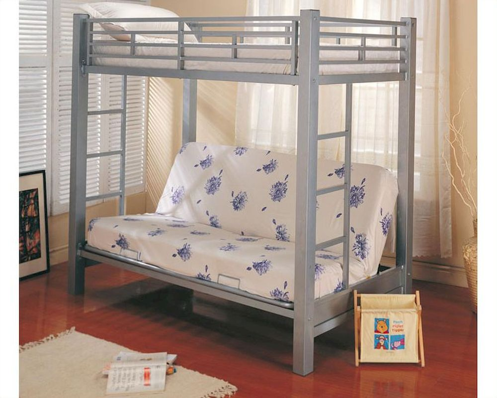 Coaster Furniture Twin Over Futon Bunk Bed In Silver Bunks