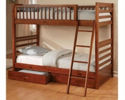 Coaster Furniture Twin over Twin Bunk Bed in Honey Oak CO460193
