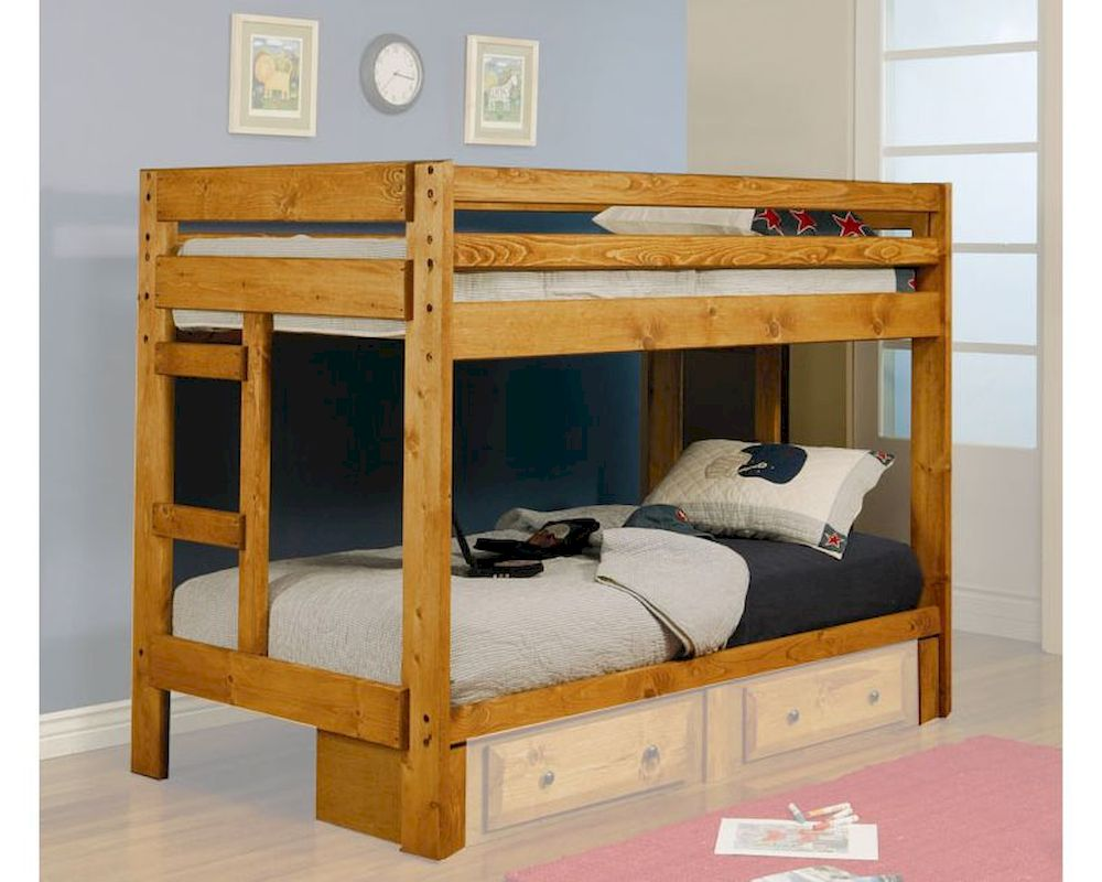 Coaster furniture twin over twin bunk bed wrangle hill for Coaster furniture