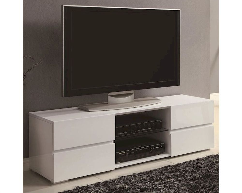 Coaster high gloss white tv stand w glass shelf co 700825 White tv console