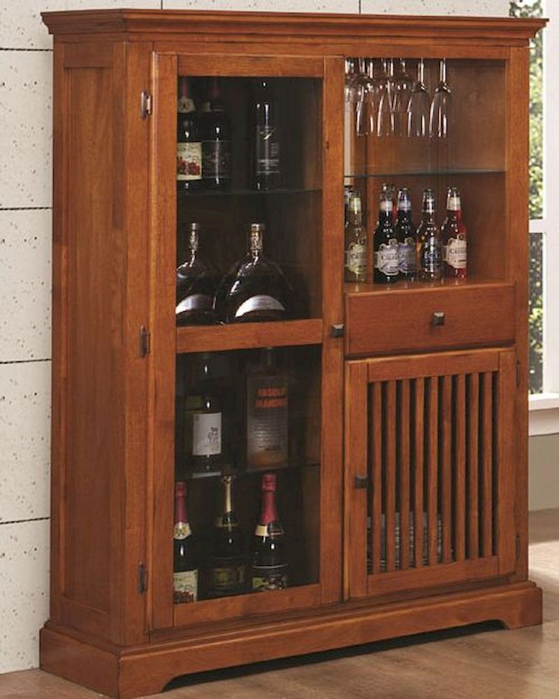 Coaster Mission Style Bar Cabinet Marbrisa In Brown Co 100625