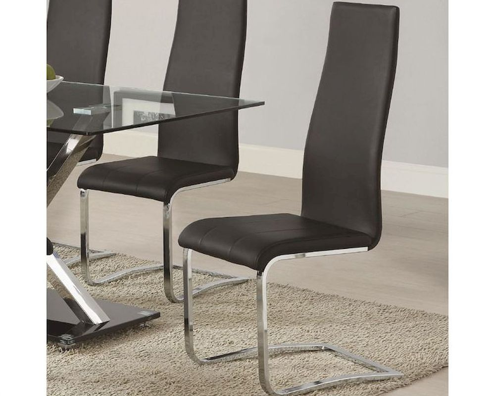 coaster modern black faux leather dining chair coblk (set of ) -