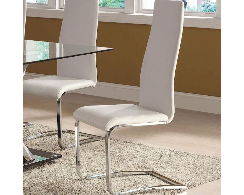Coaster modern white faux leather dining chair co for Contemporary white dining chairs