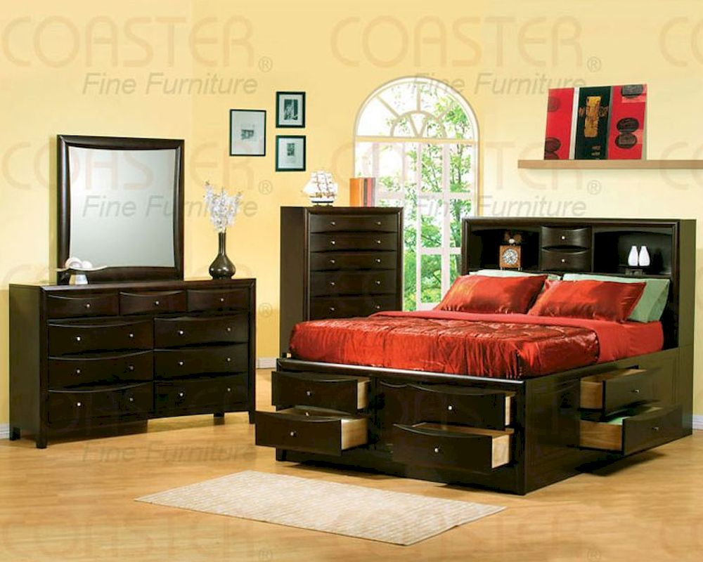 Coaster phoenix bedroom set with bookcase headboard co - Bedroom furniture bookcase headboard ...