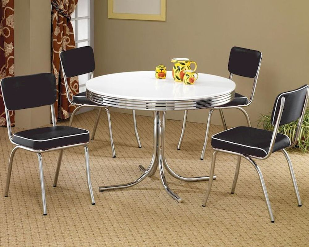Coaster Round Dining Table & Upholstered Chairs Cleveland