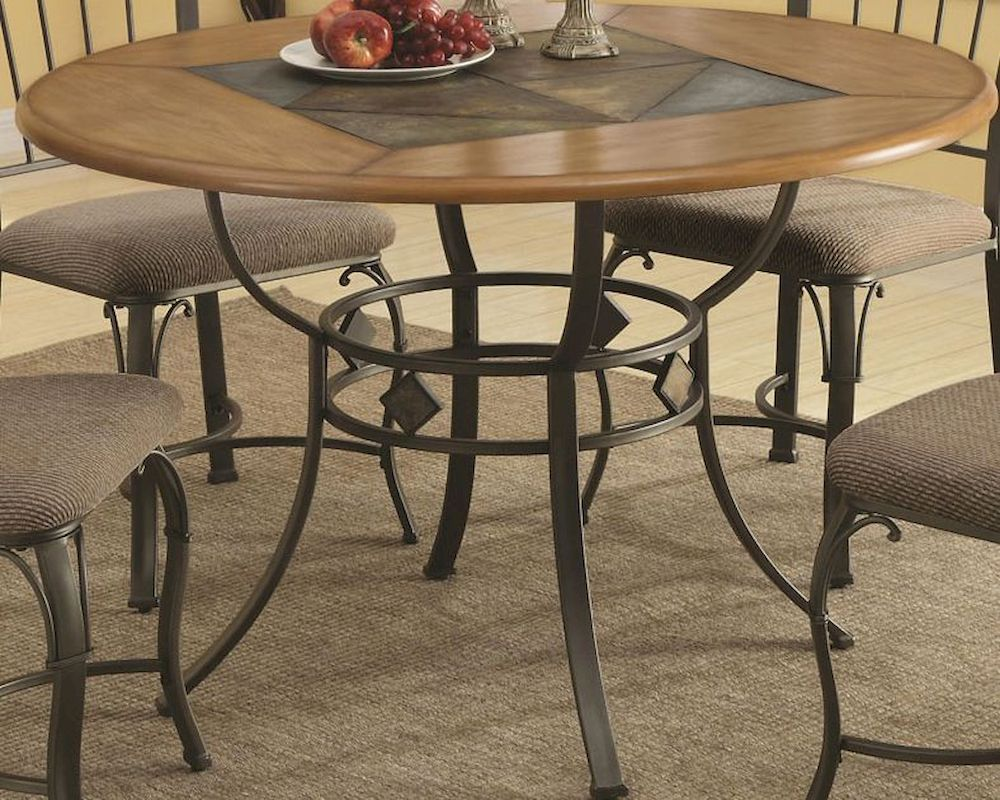 coaster round dining table w metal legs and wood top co 120771. Black Bedroom Furniture Sets. Home Design Ideas