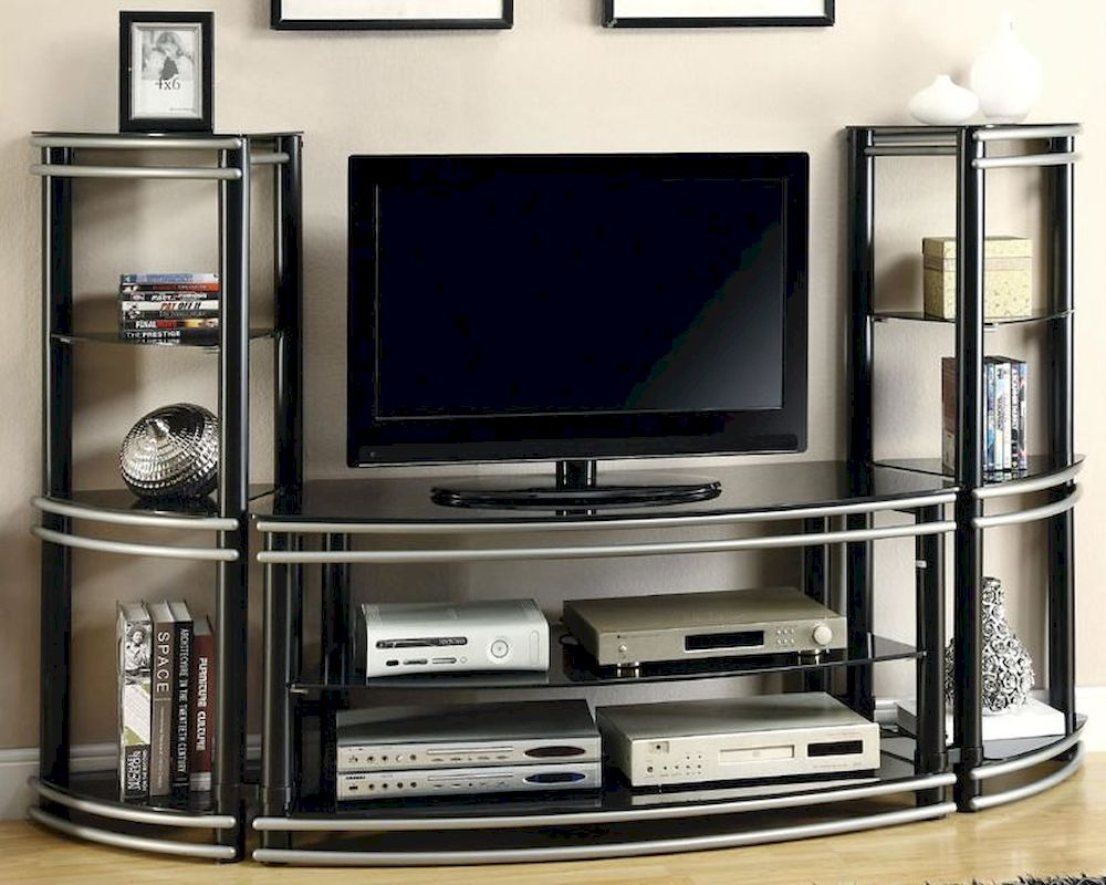 Tv Tables Big Tv Stand: Coaster Wall Unit Demilune TV Stand & 2 Media Towers CO