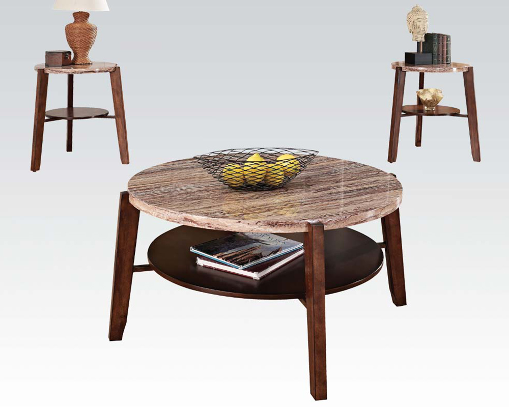 Coffee Table W Faux Marble Top Lucille Espresso By Acme Ac80083