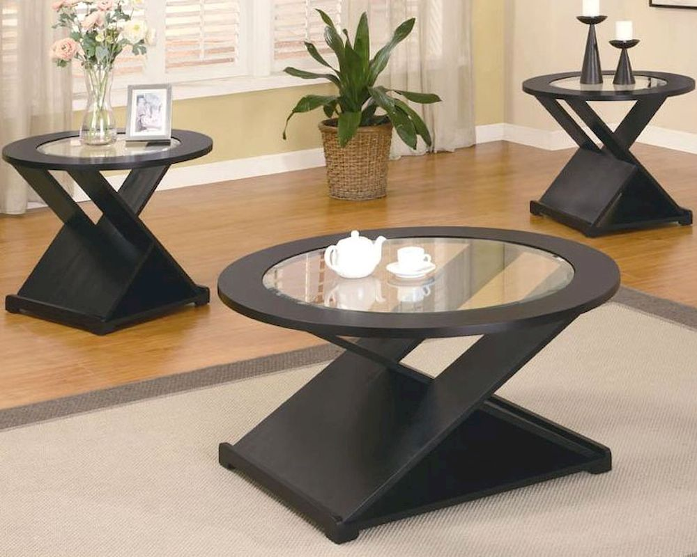 Set Of 3 Glass Tables: Contemporary 3 Piece Round Occasional Table Set CO700501