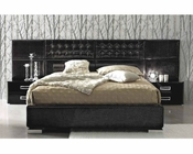 Contemporary 3PC Bedroom Set in Black Leather Glossy Finish 33B121