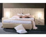 Contemporary 3PC Bedroom Set in Ivory Leather Glossy Finish 33B131