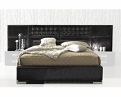 Contemporary Bed in Black Leather Glossy Finish 33B122