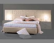 Contemporary Bed in Ivory Leather Glossy Finish 33B132